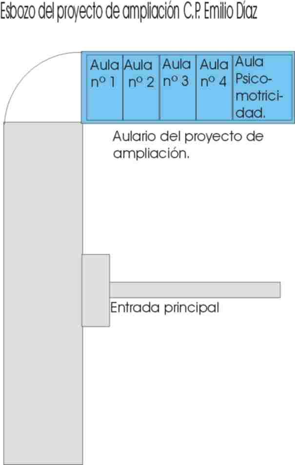 Esbozo del proyecto de ampliación del C.P. Emilio Diaz.